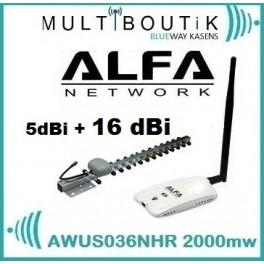 ALFA AWUS036NHR V2 2w 5dBi + 16dBi yagi