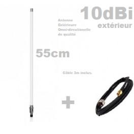 Antenne Wifi Omnidirectionnelle extérieure 10dBi 53cm N-F* Câble 3m inclus