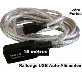 + 15 M Câble Rallonge USB 2.0 Active avec amplification - Longueur 15 Mètres