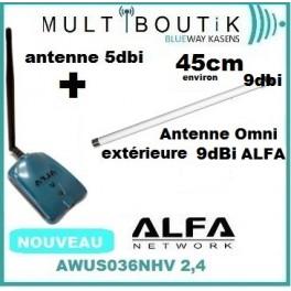 ALFA AWUS036NHV + Antenne Omni-Directionnelle Extérieure Alfa AOA-2409TM 9dBi 2,4ghz