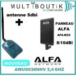 ALFA AWUS036NHV + Panneau Alfa APA-M25 2.4/5 GHz 10dbi max