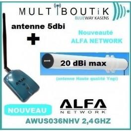 YAGI TUBE Bazooka 20dbi max  + ALFA AWUS036NHV + ventouse