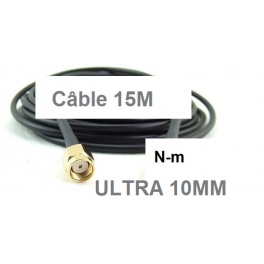 + 15 M Câble Cordon coaxial  N-m vers Rp-Sma-m  Ultra Faibles Pertes H1000,LMR-400-UF, RTK-400,ou CNT-400 10.3mm