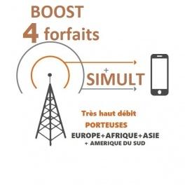kit ProBOOSTEUR©  Routeur 4G+ porteuse Europe étendue , 4g+ BOOST 4 FORFAITS SIMULT avec antennes 4 dômes boules. et câbles ultr