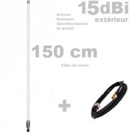 Antenne Wifi Omnidirectionnelle extérieure 15dBi 150cm N-F Câble 3m inclus sur demande si stock